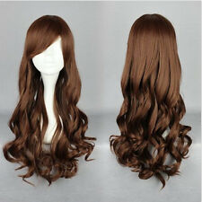 70CM Long Brown Women Fashion Anime Cosplay Wig Curly Wavy Heat Resistant Hair