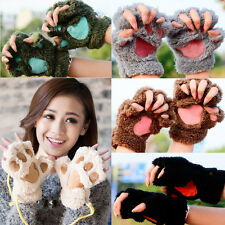 Womens Cat Claw Paw Mitten Plush Glove Costume Gift Winter Half Finger Lovely