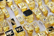 Wholesale Jewelry Lots Rings Men's Gold Plated Rhinestone Wedding Rings NEW