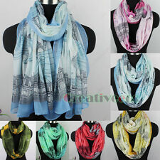 Fashion Women's Paris Style Buildings Letters Print Soft Long/Infinity Scarf New