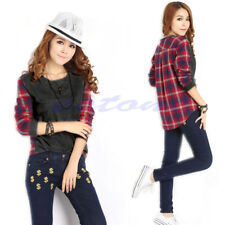 Korea Women Plaids & Checked T-shirt Long Sleeve Casual Tops Tee Shirt Blouse