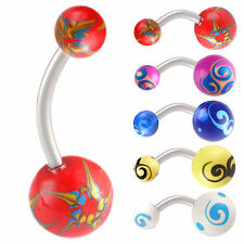 hand painted belly button navel ring steel bar piercing 9JDK-CHOOSE STYLE&SIZE