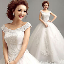 A-Line Off-Shoulder White Wedding Dress Bridal Gown Lace Flowers Bowknot Y206F