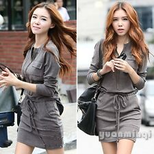 Autumn Winter Korean Fashion Women Cotton Party Tunic Peplum Casual Mini Dress