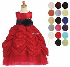 Toddler Girls Red Full Length Formal Dress Taffeta Flower Girl Christmas