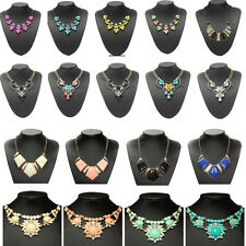 Charm Crystal Jewelry Chunky Statement Bib Pendant Choker Chain Necklace 15Style