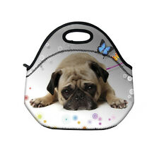 Puggy Dog Thermal Neoprene Insulated Lunch Tote Bag Picnic Bag School Cooler Box