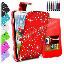 LEATHER FLIP WALLET CASE COVER FOR SAMSUNG GALAXY S4 I9500 FREE SCREEN PROTECTOR