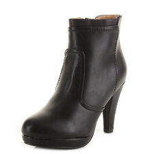 Womens Black Smart Leather Style High Heel Platform Work Office Ankle Boots Size
