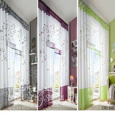 Elegant Vines Sheer Voile Curtains Organza Fabric Window Curtains 140cm Wide New