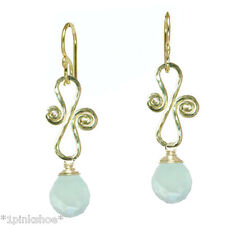 Sicily 073 ~Swirl Drop Earrings with Stone and Metal Choice