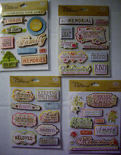 NEW TRIBUTE MEMORIES STICKER MEDLEY *Your Choice * Funeral Wake Memorial  K & CO