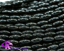 Discount Wholesale Natural Black Agate Rice Shape Loose Stone Beads 6x12mm
