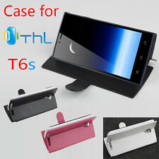 """Flip Protective Leather Case Cover For 5.0"""" Thl T6s Android Smartphone R-L"""