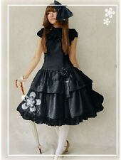 j28b gothic lolita punk black one piece chiffon dress