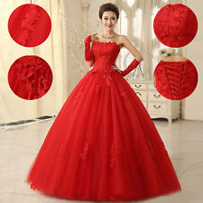 2014 New Floral Lace Red Wedding Dress Bridal Ball Gown Custom Size US 4 6 8 10