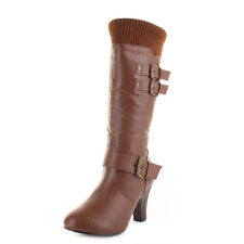 Womens Tan Leather Style Mid Calf Low Heel Heeled Knitted Cuff Boots Size