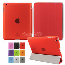 Magnetic Flip Leather Smart Stand Cover + Ultra Slim Back Case For Apple iPad