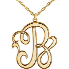 CUSTOM 14k Yellow 22mm Single Letter Script Monogram Necklace All Letters A-Z