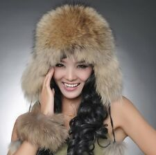 New Women Real Mink Fur Fox Fur Hat Russian Cossack Winter Cap Head  Ear Warmer