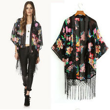 Printed Cardigan Blouse Tassel Fringe Shawl Kimono Cardigan Coat Jacket Cheap