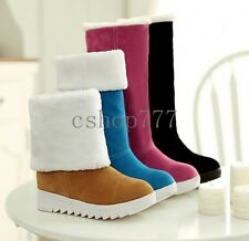 Women's Winter Wedge Heel Fur Lined Shoes Buckle Strap Knee High Snow Boots Plus