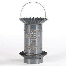 KEEP IT SIMPLE Wax Warmer PUNCHED TIN Handmade Scented Tart Burner COUNTRY LIGHT