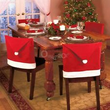 Santa Red Hat Chair Covers Christmas Decorations Dinner Chair Cap Set Xmas Decor