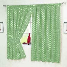 Lime Green White Polka Dot Spotted Spotty Kitchen Short Curtains & Tablecloth