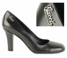 GUCCI SIGNATURE PUMPS SHOES LOGO SCRIPT HARDWARE BLACK LEATHER