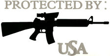 """PROTECTED BY: M4 / AR15 USA"" ~ 10.75"" Wide  Vinyl Decal   U pick Color(s)"