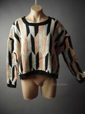 Geometric Metallic Oversized Pullover Cropped Jumper Holiday 109 mv Sweater S/M