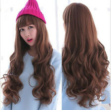 New Fashion Deep Curly Wavy Womens Long Brown Hair Full Wigs Cosplay Party Wigs