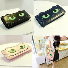HOT Women Gril Cute Cat Eyes Long Pattern Trifold Leather Wallet CA BD