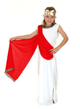 GIRLS WHITE GREEK ROMAN LADY TOGA SPARTAN FANCY DRESS UP COSTUME OUTFIT 4-6-8-10