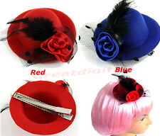 Ladys Mini Feather Rose Lace fascinator Hair Clip Top Hat Cap Costume Accessory