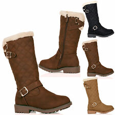 GIRLS BOOTS CHILDRENS MID CALF BUCKLE WINTER WARM ZIP UP FUR LINED LACES SIZE