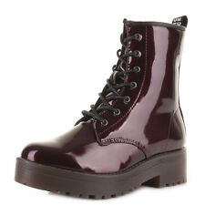 Womens Lace Up Bordo Patent Smooth Leather Style Flatform Ankle Boots Uk Size