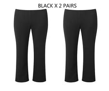 2 x PAIRS-GIRLS SCHOOL TROUSER-PULL-ON-Elasticated WAIST-from 2yrs-BLACK or NAVY