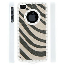 Gem Crystal Rhinestone White Grey Zebra Leather Case For Apple iPhone 5 5S 5G