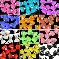 20x Acrylic 3D Bow Tie Glitters Stickers Beads Nail Art Tips DIY Decoration Kits