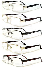 Mens Reader Metal Frame Semi Rimless Spring Temple Reading Glasses - RE34