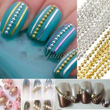 3M Steel Ball Beads Striping Tape Line Nail Art Gel DIY Decoration Silver Gold