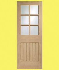 Internal Oak Pre-Finished Suffolk Door with Clear Bevelled Glass