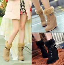 New Women's Lace Up High Wedge Heel Fur Trim Faux Suede Warm Winter Snow Boots