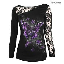 SPIRAL DIRECT Ladies Goth BUTTERFLY Skull Lace Top L/Sleeve All Sizes