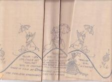 1950's 3 Pc. Chair Set Adeline Southern Belle Girl Stamped Embroidery Crochet