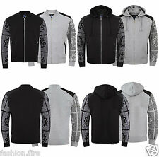 Mens Boys Bandana Paisley Print Sleeve Patch Quilted Bomber Jacket Hoodies Top