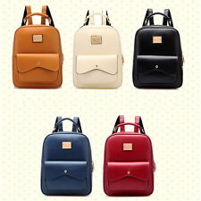 Retro PU Leather Casual Handbag Solid Campus Shoulder Book Bags Travel Backpack