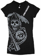 Sons of Anarchy Drip Reaper Women's Juniors Deep V-Neck Black T-Shirt
